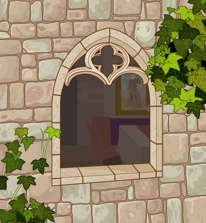 finestra: Illustrazione della finestra medievale di pietra naturale