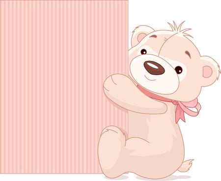 cute teddy bear: Illustration of cute Teddy Bear holds a blank board Illustration