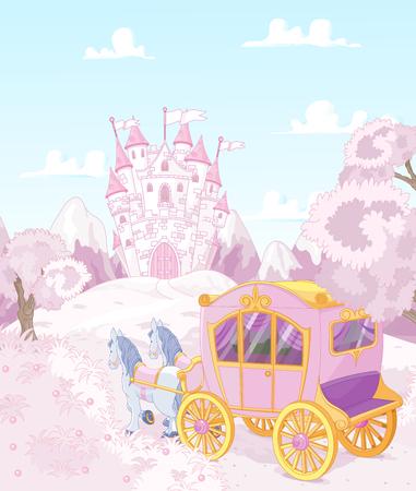 Przewóz dla prawdziwej księżniczki trafia do królestwa Ilustracje wektorowe