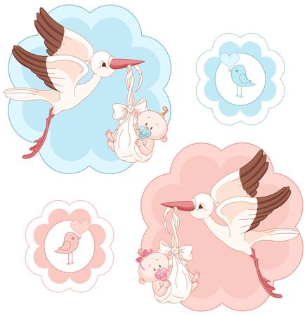 Collection d'images de cigognes et les bébés Vecteurs
