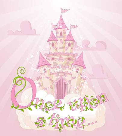 """Text """"Once upon a time"""" over sky castle and clouds  イラスト・ベクター素材"""