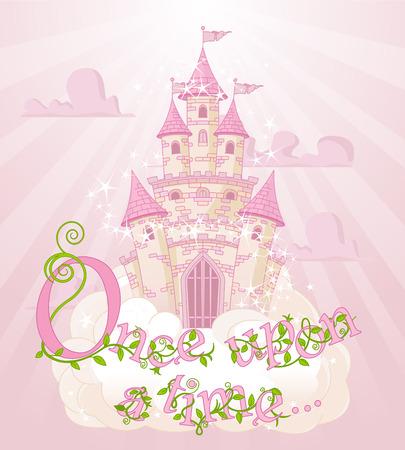 castillos de princesas: Texto Había una vez sobre el castillo cielo y las nubes Vectores
