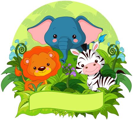 animales de la selva: Ilustración de animales de la selva lindo en el fondo de la naturaleza