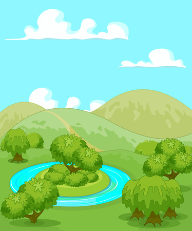 Illustration du paysage rural magie