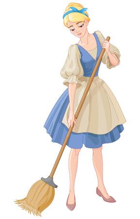 Illustration beautiful girl sweeps