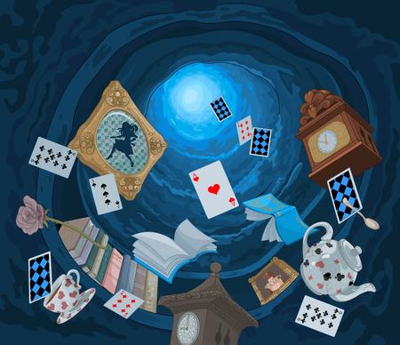 Resumen de fondo de los objetos que caen abajo en el agujero del conejo