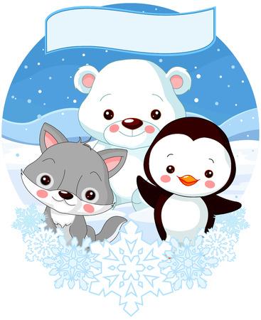 north pole: Illustration of cute North Pole animals