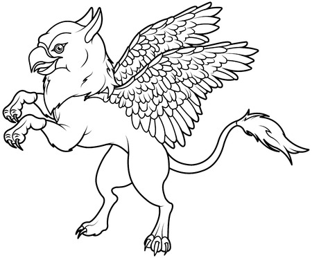 bestiary: Coloring page of magic flying griffin