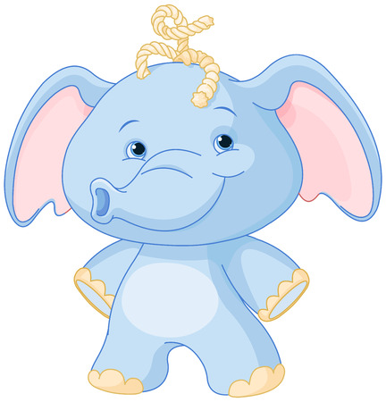 Illustration of baby elephant smiling