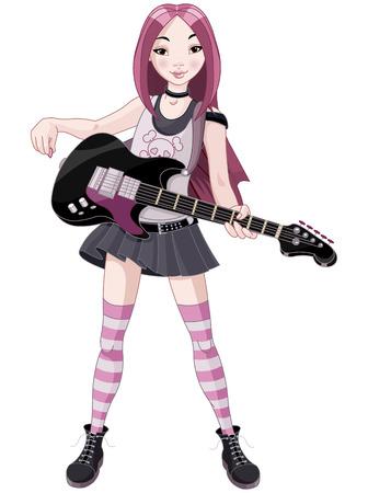 기타를 연주 멋진 록 스타 소녀
