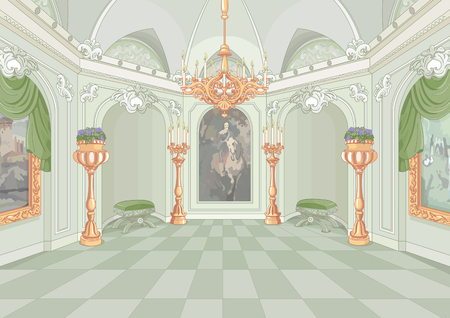 fairytale background: Illustration of Palace hall
