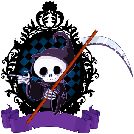 Cute cartoon grim reaper with scythe pointing