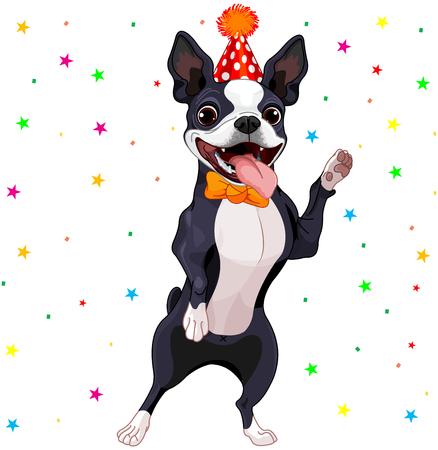 Illustration of cute Boston terrier celebrating