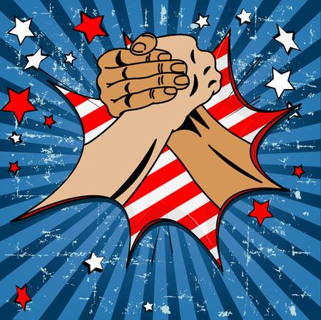la union hace la fuerza: Dise�o del D�a del Trabajo con el cartel manos de los trabajadores