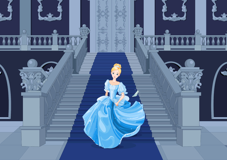 Illustration of girl with gown runs away