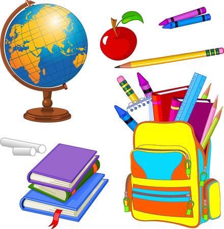 Bunte Reihe von Schulmaterial
