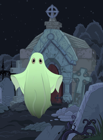 specter: Halloween illustration of cute ghost on cemetery background Illustration