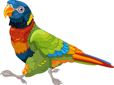 Illustration of running Lory Parrot
