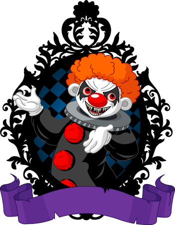stage costume: Spooky Halloween Clown in a black frame