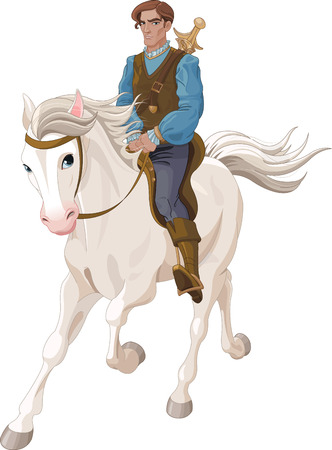Illustration of Prince Charming riding  a horse Vettoriali