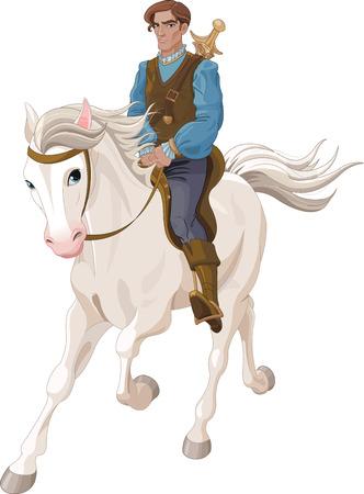 prin: Ilustración de príncipe azul montado en un caballo
