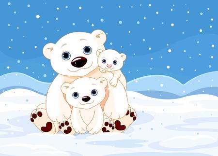 겨울 배경에 북극곰 가족의 그림 일러스트