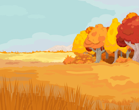 idyllic: Illustration of idyllic autumn landscape Illustration