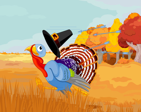 escapes: Cartoon turkey escapes from the arrows and loses his hat