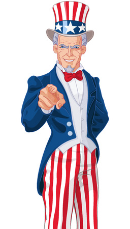Great illustration of Uncle Sam pointing Vettoriali