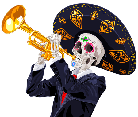 Day of the dead trumpet player.  Dea de los muertos