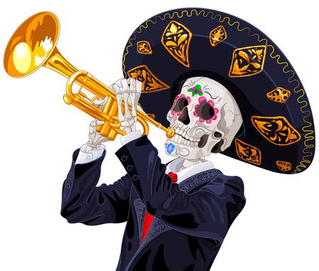 Dag van de doden trompettist. Dea de los muertos