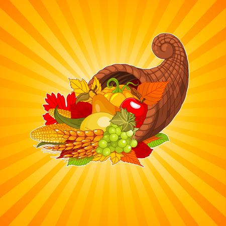 horn of plenty: Thanksgiving background with cornucopia full of harvest fruits and vegetables Illustration