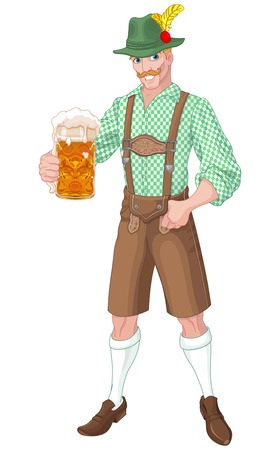 bier festival: Illustration of Oktoberfest guy celebrating