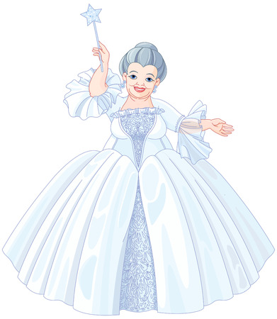 Illustration of very cute fairy godmother are holding magic wand Vettoriali