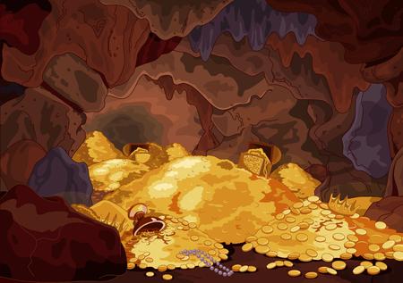 peinture rupestre: Illustration d'une grotte du trésor magique Illustration