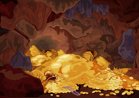 Illustration of a magic treasury cave Ilustracja