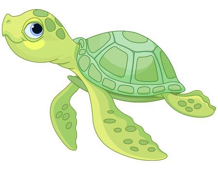非常にかわいいウミガメのイラスト  イラスト・ベクター素材