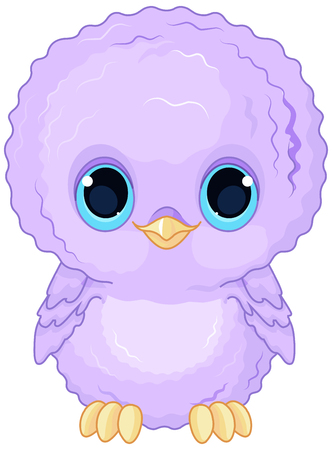 Illustration of a cartoon baby owl Stok Fotoğraf - 63601494