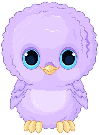 owl illustration: Illustration of a cartoon baby owl