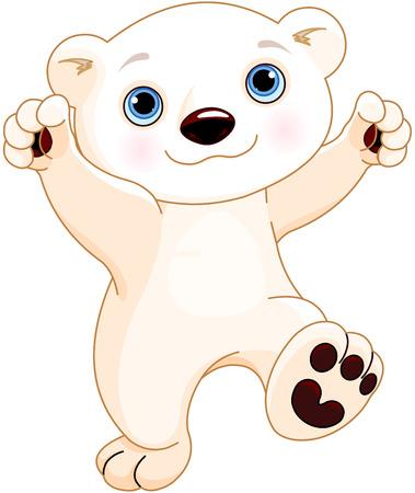 Illustration of cute polar bear is dancing Illustration