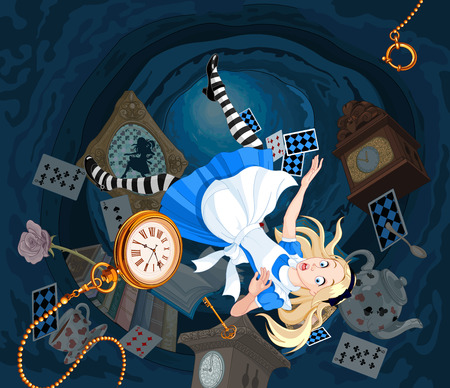 Alice is falling down into the rabbit hole Stock Illustratie