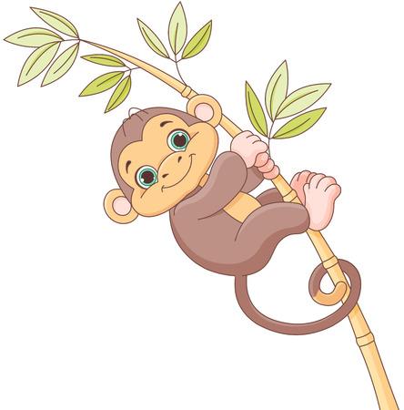 mimic: Illustration of cute baby monkey
