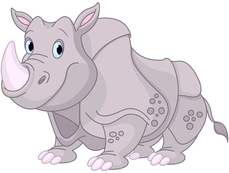 Illustration of funny rhino
