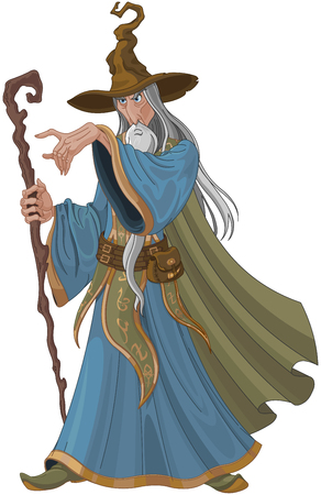 Fantasy style wizard with staff Illustration