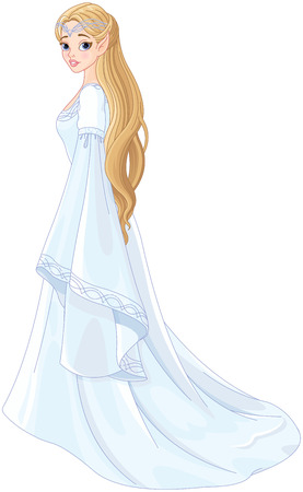 Fantasy style portrait of elf princess  Illustration