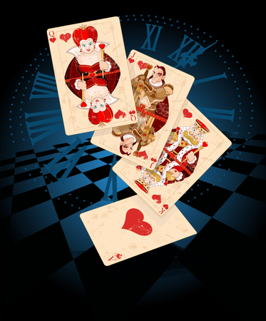 fantasy: Illustration of Hearts plays cards