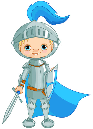 children drawing: Illustration of a brave knight
