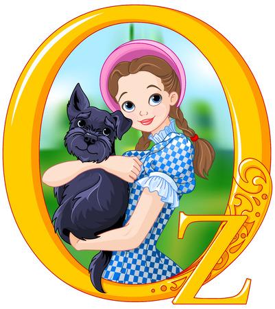 oz: Dorothy and Toto. Wizard of Oz illustration Illustration
