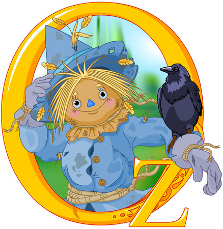 Scarecrow and Crow. Wizard of Oz illustration Ilustração