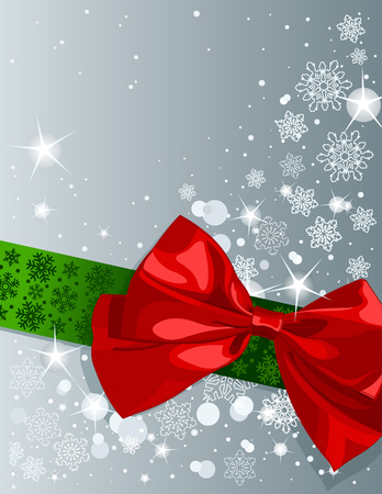 Christmas design with bow and shining stars